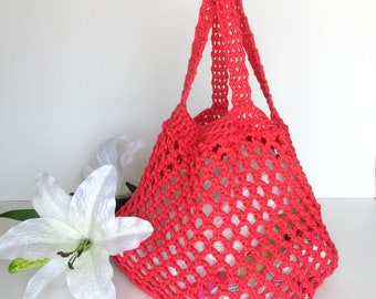 Crochet tote bag, market bag, cotton bag, zero waste, ecofriendly, grocery bag, shopping bag, reusable bag, beach bag, extensible bag
