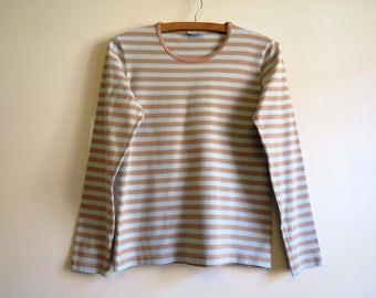 MARIMEKKO Womens Shirt Nautical Top Light Brown Pale Blue Striped Sailor Blouse Marine Sweater Long Sleeves Cotton Top Small Size