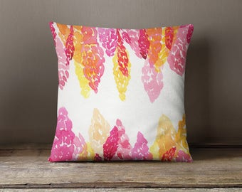 Summer Pillow - Summer Bedroom Decoration - Pink and Orange Snapdragons - Watercolor Floral - Original Artwork - Throw Pillow