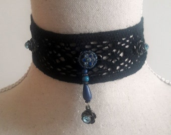 Black lace choker, Romantic choker with blue crystal roses on lace necklace  gift idea for her