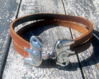 Elephant leather bracelet, Lucky elephant cuff, Zamac closure silver baded 8 microins silver, Gift for him