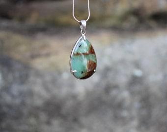 FREE SHIPPING Chrysoprase silver pendant