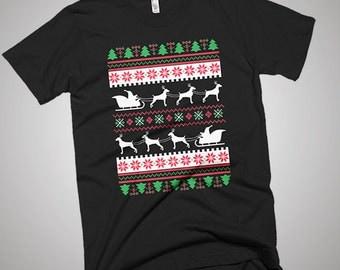 Weimaraner Santa's Reindeer Christmas Ugly T-Shirt