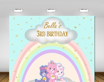 Printable Care Bears Birthday, Backdrop, Poster,Sign, Banner, Baby Girl, First Birthday, Birthday Party, Baby Girl Birthday Decorations