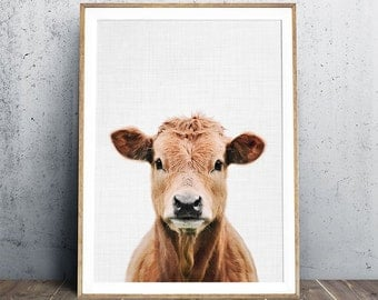 Cow Print, Baby Animal Print, Animal Nursery Art, Nursery Decor, Animal Print, Calf Print, Nursery Animal Portrait, Farm animal photography