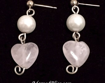 White Pearl & Rose Quartz Heart Earrings / Valentine's Day / Rose Quartz / Jewelry / Women's Fashion / Dangle Earrings / Post Earrings