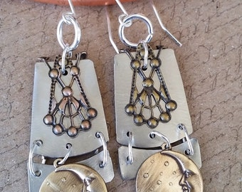 Unique/Contemporary Earrings/Sun and Moon Motif/Bronze and German Silver/Copper Witch Designs/Made in USA/Free Shipping/Jamie Belongia