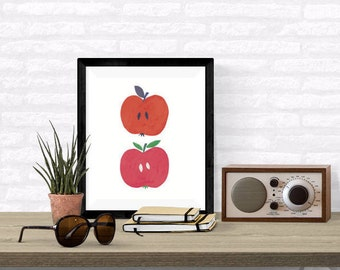 Apple Digital Download Print, Kitchen Art, Wall Art, Nursery Print, 8x10 inch, Food Print, Fruit Instant Printable