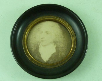 Miniature Circular Framed Photograph Painting Thomas Timbrell Antique