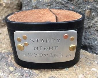 "Leather Cuff - ""Starry Night Wyoming"""