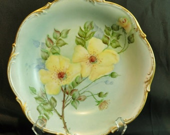 Bareuther Bavaria Germany Porcelain Hand Painted Bowl with Yellow Primroses