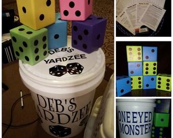 Yard Dice, Lawn Dice, Yardzee, Farkle, Outdoor Game Set of 8 dice Custom