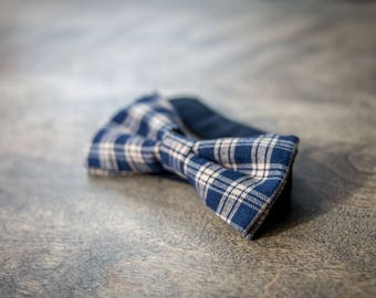 Blue and beige Plaid bowtie. Bow tie for men pre-attached and adjustable. Rustic BowTie, wedding, gift