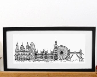 Black and white London skyline print with mount - London print - Art print - London present - house warming - Capital city - new home
