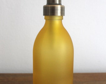 Yellow Glass Soap Dispenser Bottle in 250ml with Stainless Steel Pump