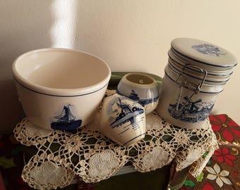 Vintage Pieces of Ceramic Delft Bowl/Jar Set