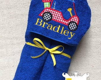 Personalized Golf Cart Applique Embroidered Hooded Towel for Boy or Girl