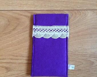 Mobile case purple felt