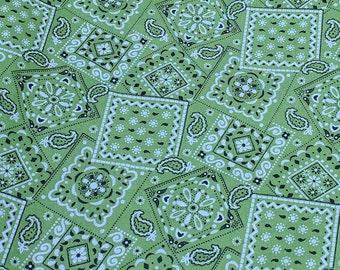 Green Bandanna Pattern Cotton Fabric
