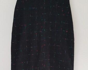 Vintage black pencil skirt | Coloured fleck detail | UK Size 8