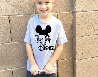 Disney Shirt First Trip to Disney Adorable Kids Boys T Shirt in Heather Gray Great for a fist timer trip to Disneyland or Disney World