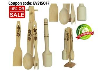 For Kitchen, Kitchenware, Kitchen Tools, Cookware, Cooking Utensils, Wooden Kitchen Set, Wooden Spoon, Wooden Fork, Wooden Spatula, Wooden H