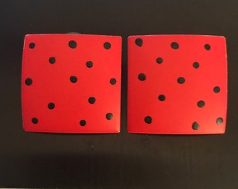 Vintage Earrings, Vivid Tomato Red with Black Polka Dots