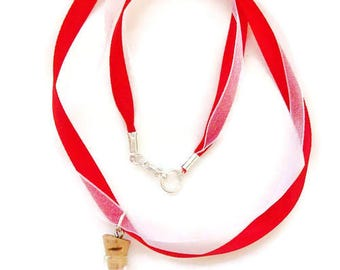 Necklace/Girls Red Ribbon Necklace/Glass Vial Filled with Ruby and Diamond Colored Crystals/Red and White Organza Ribbons