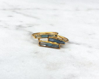 Raw Aquamarine Ring, Blue Aquamarine Statement Ring, March Birthstone Ring, Raw Crystal Ring, 14k Gold Filled, Bohemian, Gold Gemstone Ring
