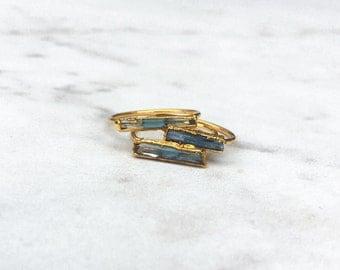 Raw Aquamarine Ring, Blue Aquamarine Statement Ring, March Birthstone Ring, Raw Crystal Ring, 14k Gold Filled, Bohemian Gemstone AQU/H-G-R-M
