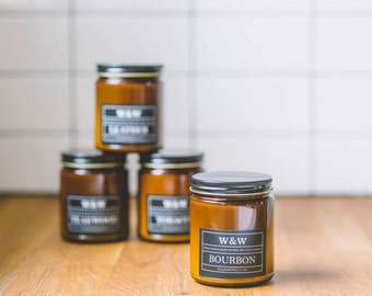 SALE - SET OF 4 Gentlemen's Reserve Line - 9oz Pure Soy Wax Candles in Amber Jar with Lid - Teakwood, Tobacco, Leather, and Bourbon