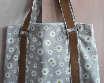 Neutral 100% Cotton Bag with  floral print