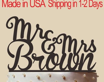 Personalized Wedding Cake Topper With Name, Custom Name Cake Topper, Mr and Mrs Cake Topper, Wedding Cake Topper CT002