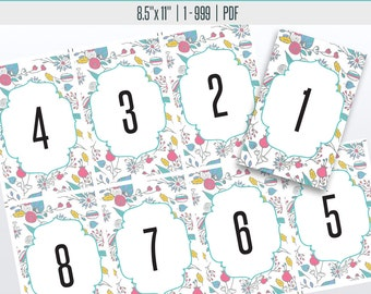 Floral Live Number Cards(1-999) | Live Sale Numbers, Number Tags, Facebook live numbers