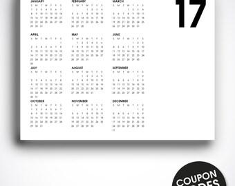 Printable 2017 calendar, 2017 wall calendar, letter size, 2017 desk calendar, printable 2017 monthly calendar, pdf, yearly wall calendar