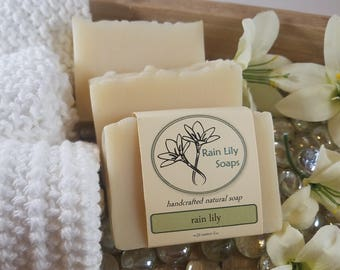 Rain Lily Soap, Natural Soap, Handcrafted Soap, Natural Bar Soap, Essential Oil Soap, Vegan Soap