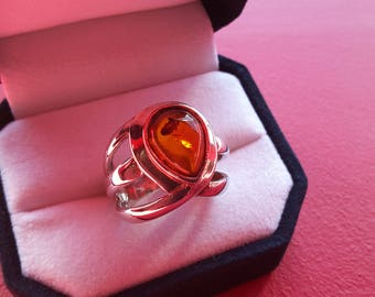 Ring in 925 sterling silver and honey - cognac amber