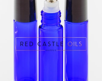 Free Shipping - 12 10ml Cobalt Blue Roller Bottles with Stainless Steel Rollerball Inserts