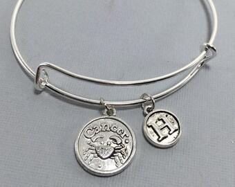Cancer Zodiac Jewelry - Cancer Astrology Jewelry - Cancer - Cancer Bracelet- Cancer Bangle - Zodiac Jewelry - Valentines Gift - Charm bangle