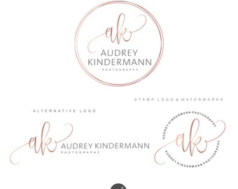 Photography logo, Premade Branding Kit, Circle logo, Blog logo, Watermark, Pink Gold logo, Logo Design, Stamp, Branding set, Logo package 93