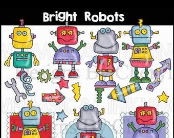 Bright Bots for planner stickers, card making, scrapbooking, classrooms, small commercial use
