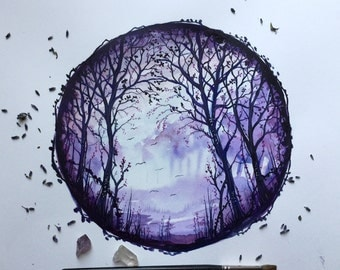 Watercolour Painting On Paper - Secret Woods - Hand Painted Original Woodland Piece