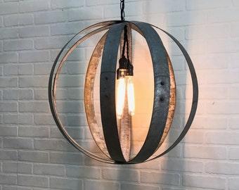 24 in Industrial Chandelier - Wine Barrel Hoops - Dark Victory Collection  #501 - three bulbs - repurposed/reclaimed