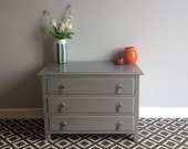 Vintage Art Deco Style Chest of Drawers Storage Upcycled  Painted in Silver Grey and Decoupaged.