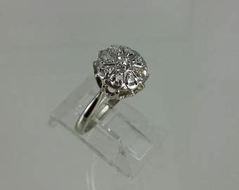 Vintage 1960s 10k White Gold Diamond Ring Sz 5