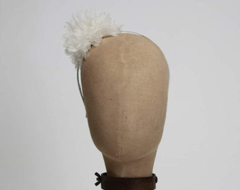 Flower Headband, Tulle Flower Headband, Tulle, White, Bridal Headband