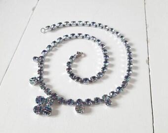 Excellent Condition 1940's Delicate Rhinestone Necklace. Watermelon, Iris, Rainbow Glass. Wedding, Bride, Bridesmaid