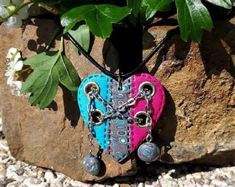 Chained heart pink and blue large necklace made of polymer clay