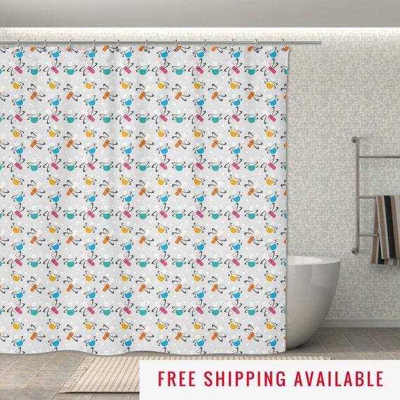 "Science Shower Curtain - Beaker Molecules: 70x70"" Geek Shower Curtain ..."