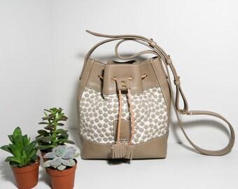 Bucket bag Erell CBT17, calfskin and designer fabric